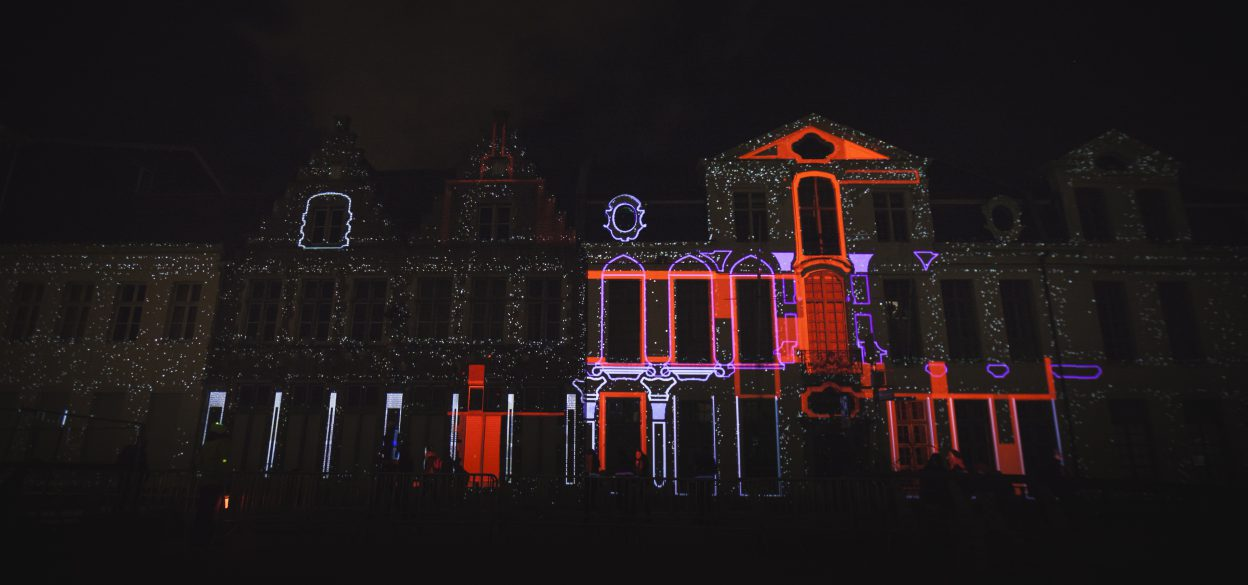 Keys of Light projection mapping on buildings by Mr.Beam during Ghent Light Festival