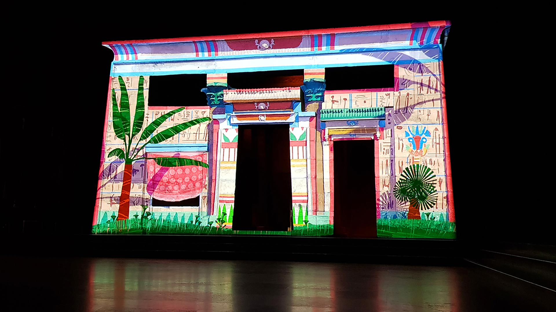 Projection on the Temple of Taffeh in Rijkmuseum van Oudheden Leiden