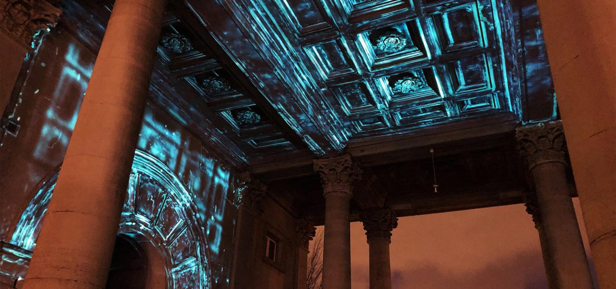Photo of the projection mapping installation on the Haarlemmerpoort in Amsterdam