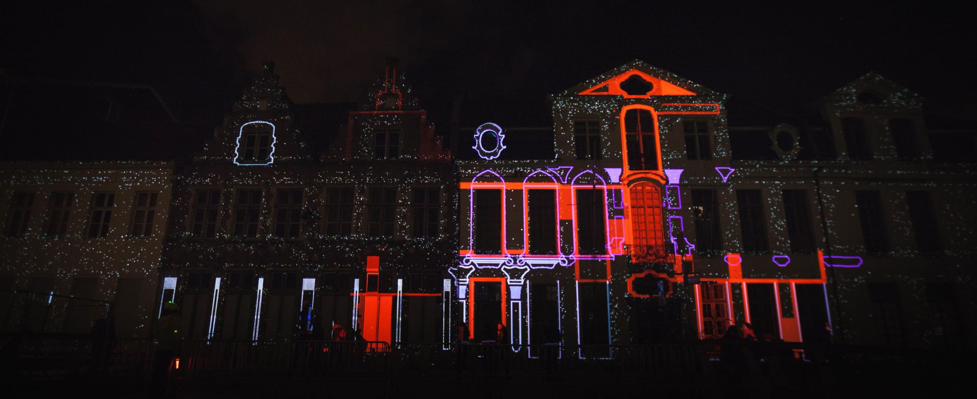 Photo of Keys of Light projections on a building during Light Festival Ghent