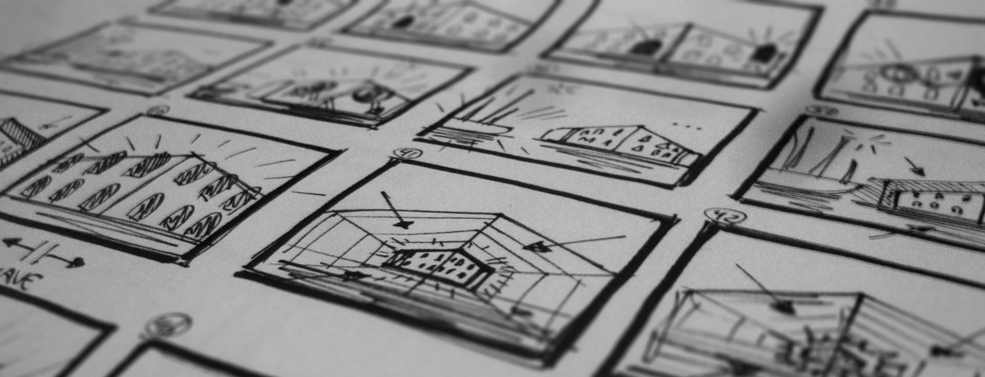 Detail of a storyboard drawing created by Mr.Beam, for the projection mapping show design at Amsterdam Light Festival