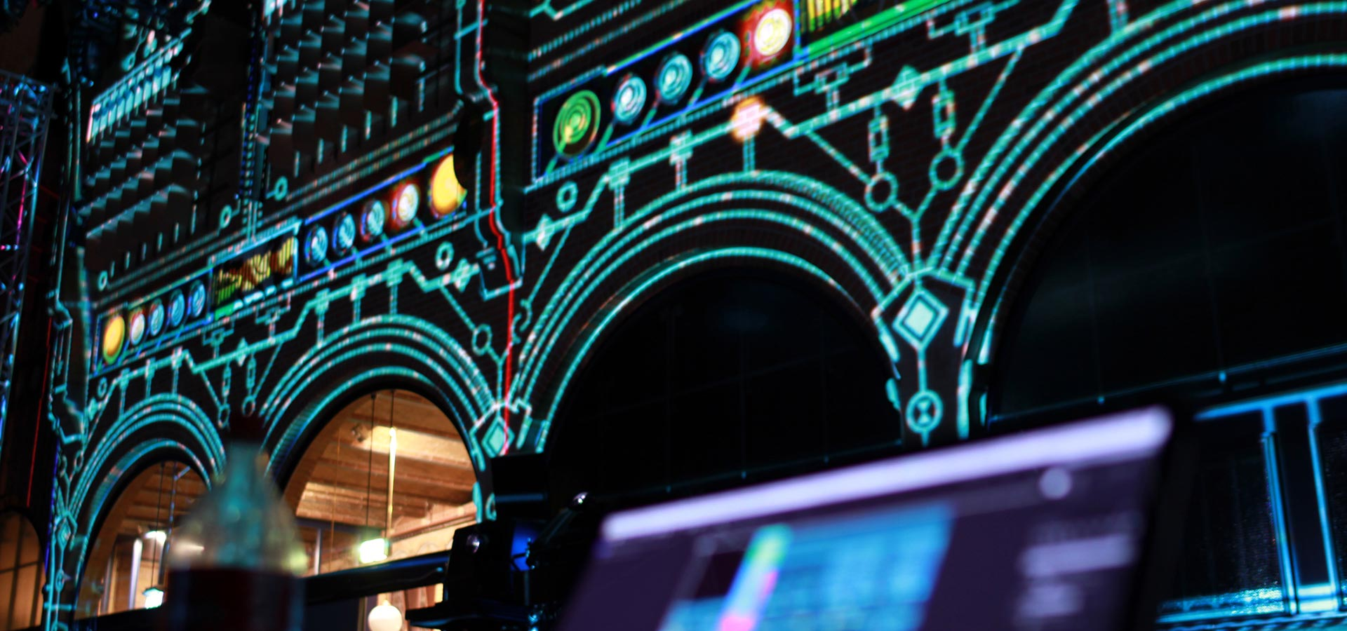 Detail of the projection mapping experience created by Mr.Beam for Bose Pro at the Beurs van Berlage Amsterdam